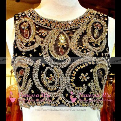 Black Crop Top Prom Dresses, Beaded..