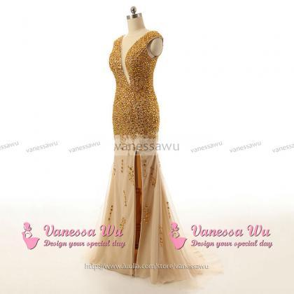 Luxurious Gold Sequined Prom Dress ..