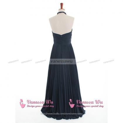 Dark Navy Bridesmaid Dress with Ruc..