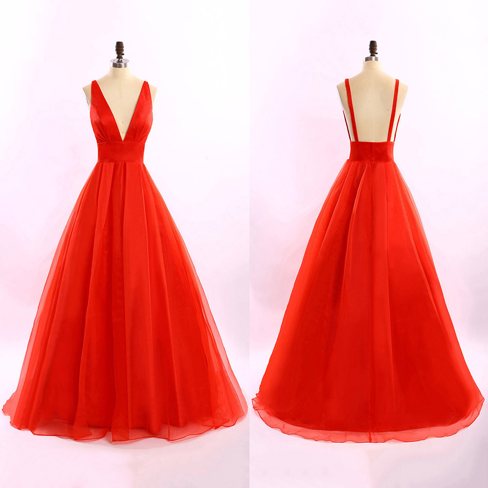 hot red long prom dresses sexy plunge vneck ball gowns