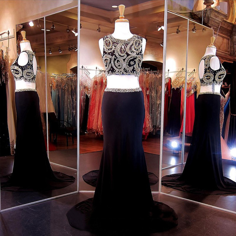 Black Crop Top Prom Dresses, Beaded Illusion Chiffon Prom Dress, Column Two Piece Prom Dress with Beaded Belt, #020102157
