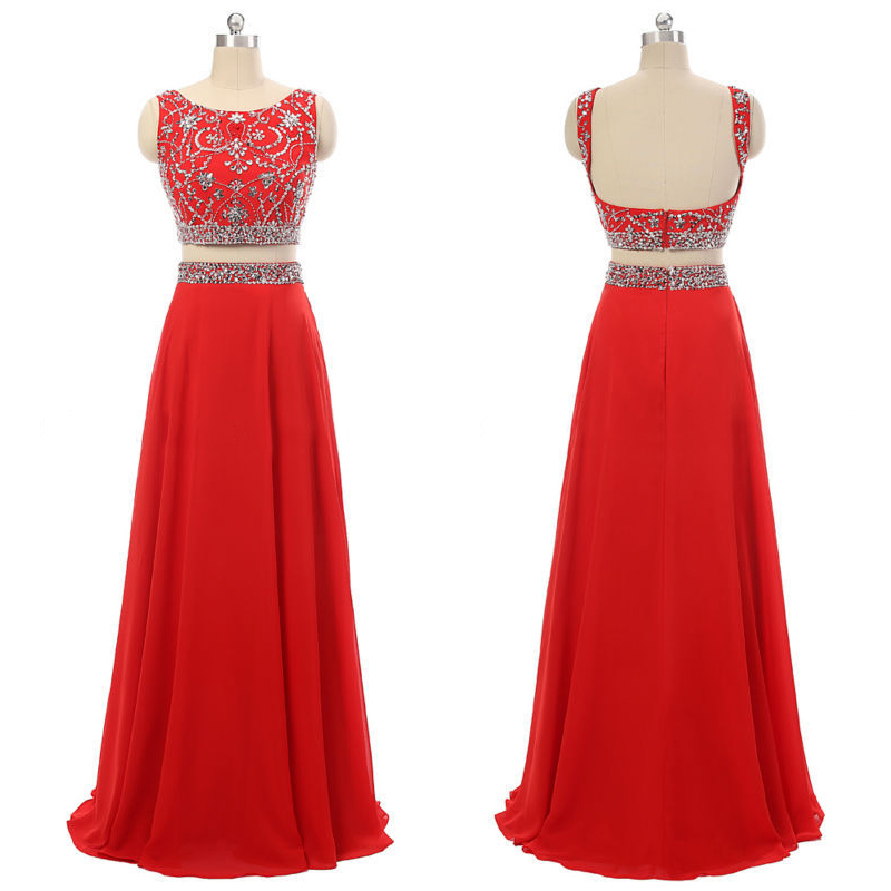 Hot Red Crop Top Prom Dresses, Sexy Backless Crop Top Prom Gowns, Illusion Beaded Evening Dress with Beaded Belt, #020102105