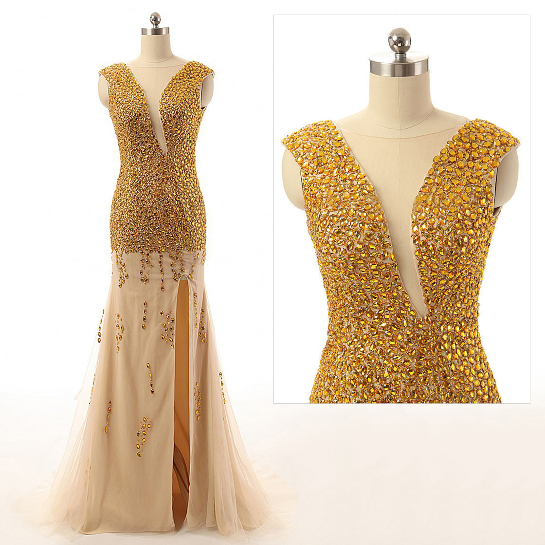 Luxurious Gold Sequined Prom Dress with a Side Slit, Mermaid Open Back Prom Dresses, Sexy Cap Sleeve Tulle Evening Dress, #020102103