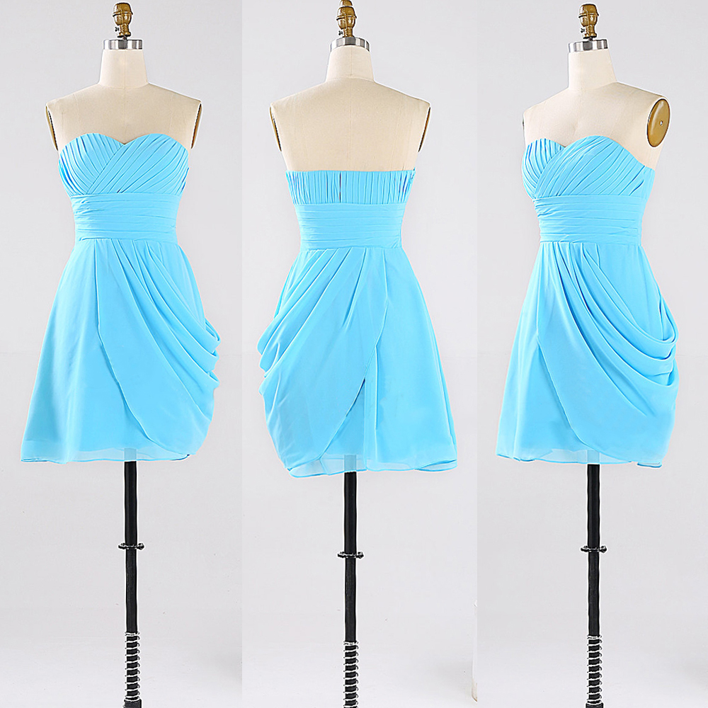 Light blue chiffon bridesmaid dresses with ruching detail for Wedding dress with blue detail