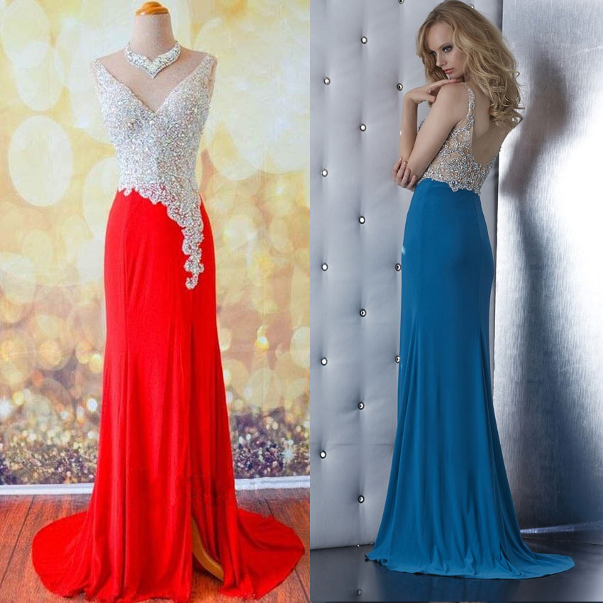 Deep V-neck Prom Dresses with Beaded Bodice, Red Low Back Prom Dresses, Floral Lace Prom Dresses with Chiffon Skirt, #02019065