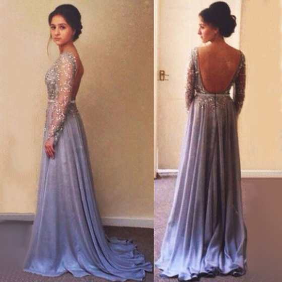 Beaded Long Sleeve Prom Dresses With Low Back, Open Back Prom ...