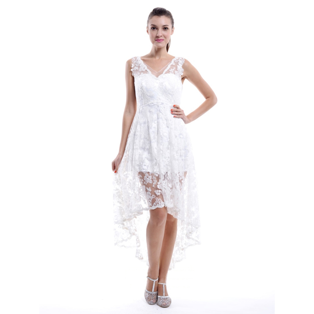 Trendy High Low Bridesmaid Dresses, White Lace Bridesmaid