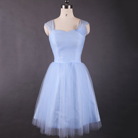 Vintage Light Sky Blue Bridesmaid Dresses, Sweetheart Bridesmaid Dress with Tulle Straps and Flowers, Retro Knee-length Bridesmaid Dresses, #01012498