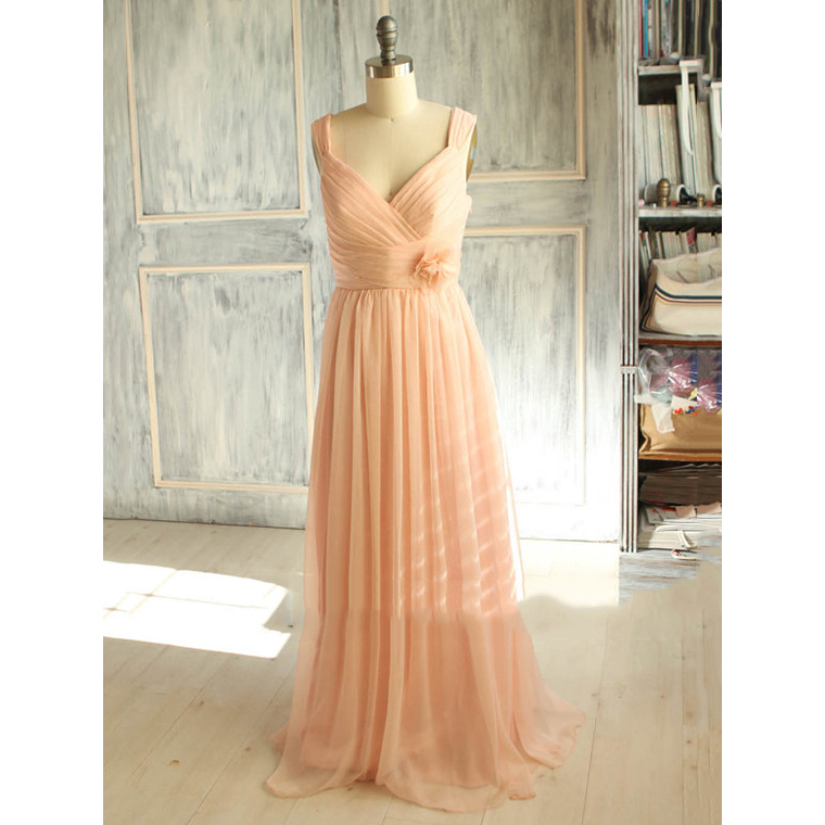 Light Pink Bridesmaid Dress with a Detachable Flower, Classy Long Chiffon Bridesmaid Dress with Ruched Bust, V-neck Bridesmaid Dresses, #01012398