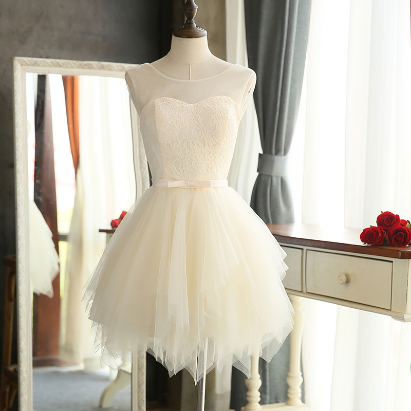 Casual short bridesmaid dresses cute white mini princess for Cute short white wedding dresses