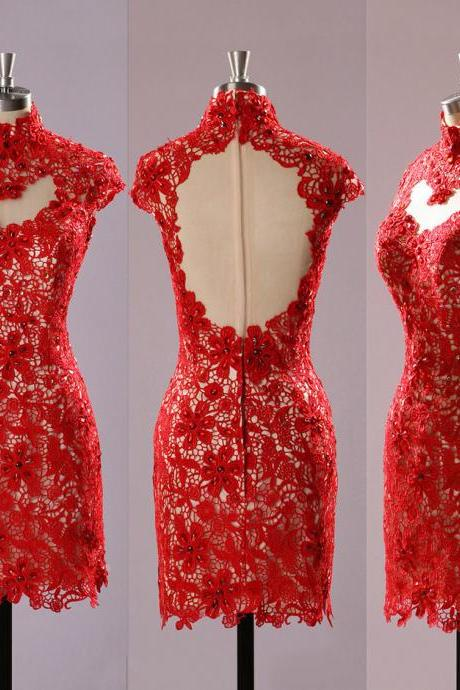 Red High Neck Lace Prom Dresses, Open Back Prom Dress with Cutout, Floral Lace Cap Sleeve Short Prom Dress, #020102224