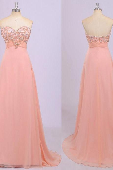 Different Blush Prom Dresses, Sweetheart Empire Prom Gowns, Beaded Chiffon Prom Dress with Ruching Detail, #020102220