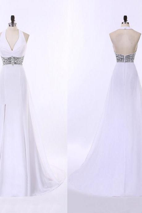 White Open Back Prom Dress with Beaded Belt, Sexy Halter Prom Dress with a Side Slit, Long Chiffon Prom Dress, #020102208