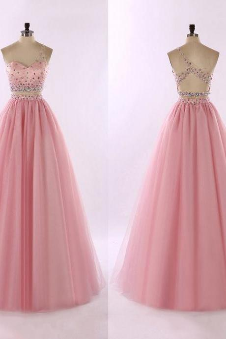 Pink Two-Piece One-Shoulder Tulle Prom Gown with Colorful Beaded Embellishment