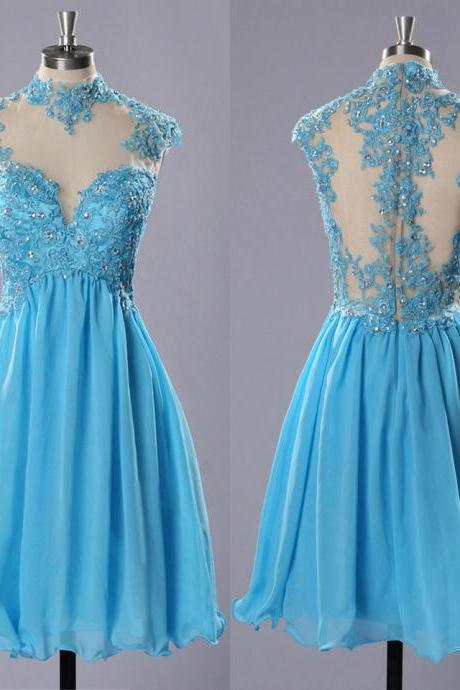 High Neck Prom Dresses with Lace Appliques, Light Blue Chiffon Prom Dresses, Short Tulle Homecoming Dresses, #020102183