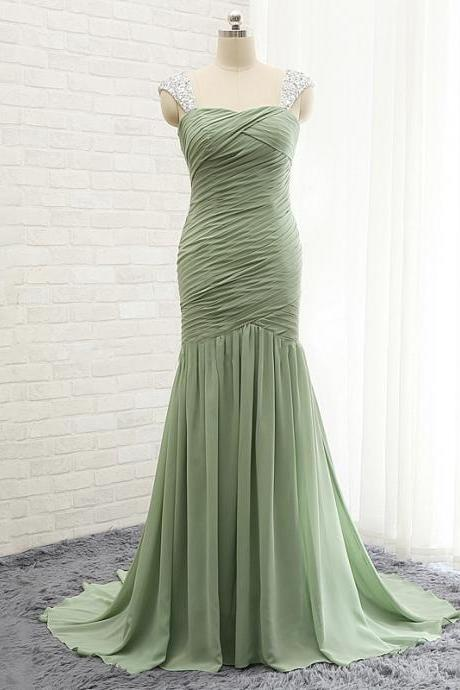 Trendy Mermaid Prom Dresses with Ruching Detail, Chiffon Prom Gowns with Beaded Straps, Chiffon Prom Dresses, #020102132