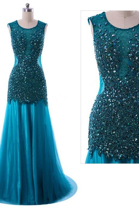 Backless Trumpet Prom Dresses, Blue Mermaid Tulle Prom Dresses, Luxurious Jewel Beaded Sleeveless Prom Dresses, #020102100