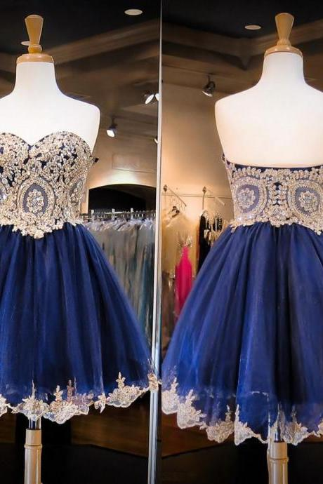 Inexpensive Sweetheart Prom Dresses with Sparkle Beads, Short Beaded Blue Prom Gowns, Mini Organza Prom Dresses, #020102037