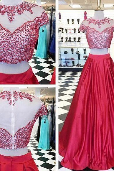 Hot Red Two Piece Prom Dresses, Illusion Beaded Prom Gowns with Short Sleeves, Floor-length Crop Top Prom Dresses, #020102033