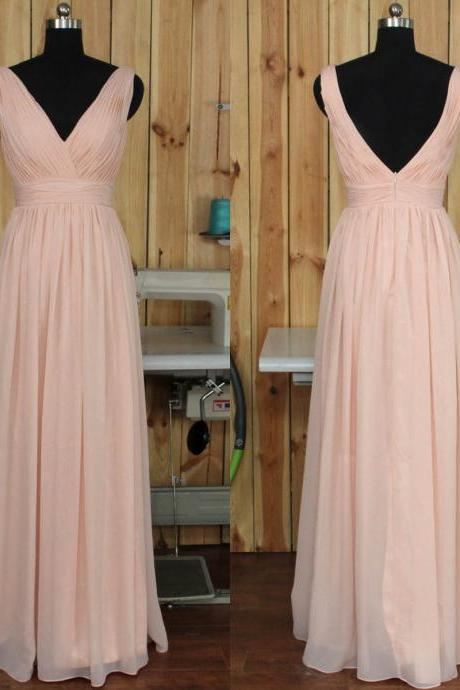 V-neck Bridesmaid Dress with Ruching Detail, Backless Chiffon Bridesmaid Gowns, Floor-length Pink Bridesmaid Dress, #01012891