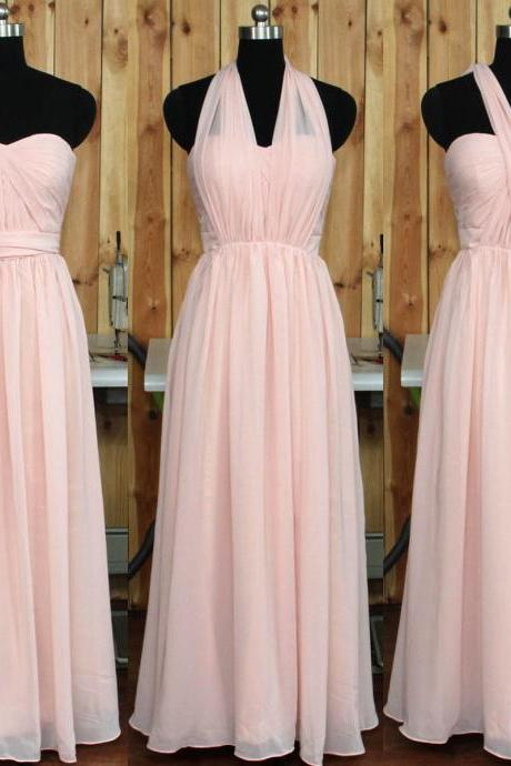 Classic Pink Bridesmaid Dress with Ruching Detail, Sweetheart Chiffon Bridesmaid Gowns, Long Gowns for Bridesmaids, #01012890