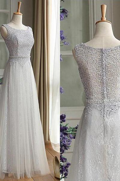 Noble Lace Bridesmaid Dresses, Scoop Neck Sleeveless Bridesmaid Gowns, Gray Floor-length Tulle Bridesmaid Dress, #01012889