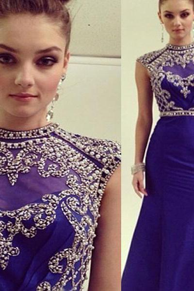Beaded Cap Sleeve Prom Dress with High Neck, Cap Sleeve Royal Blue Prom Dresses, Mermaid Prom Dresses with Beaded Belt, #020101343