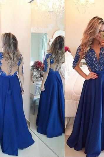 3/4 Sleeve Royal Blue Prom dress, Crystal Encrusted Plunge V-neck Prom Dress, Long Prom Dress with Slim Belt, #020101864