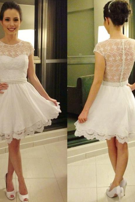 Cap Sleeve White Prom Dresses with Pearl Beaded Belt, Girly See-through lace Prom Dresses with Sweetheart Neckline, #02019813