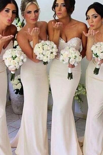 Ivory Bridesmaid Dresses with Glittering Beaded Sweetheart Bodice, Long Bridesmaid Dress with a Ribbon, Elegant Mermaid Bridesmaid Dresses, #01012230