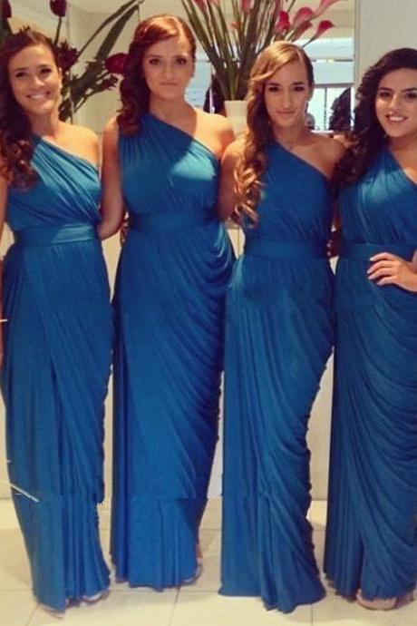 One Shoulder Bridesmaid Dress with Soft Pleats, Teal Blue Sheath Bridesmaid Dress with a Ribbon, Asymmetric Chiffon Bridesmaid Dresses, #01012578