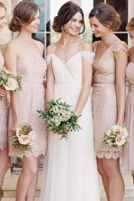 Cap Sleeve Lace Bridesmaid Dress, V-neck Short Bridesmaid Dresses, Sheath Style Mini Blush Gowns for Bridesmaids, #01012752