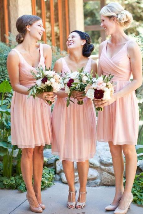 V-neck Pink Bridesmaid Dress with Ruching Detail, Chiffon Knee-length Bridesmaid Dresses with Soft Pleats, Cheap Bridesmaid Dress, #01012754