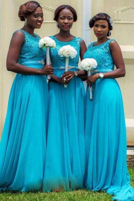 Blue Bridesmaid Dress with a Beaded Belt, Illusion Bridesmaid with Beaded Floral Bodice, Chiffon Bridesmaid Dress with Sweep Train, #01012759