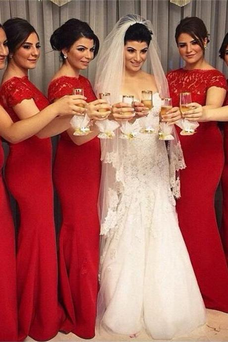 Red Bridesmaid Dress with Cap Sleeves, Fabulous Mermaid Lace Bridesmaid Dresses, High Neck Bridesmaid Dress, #01012763