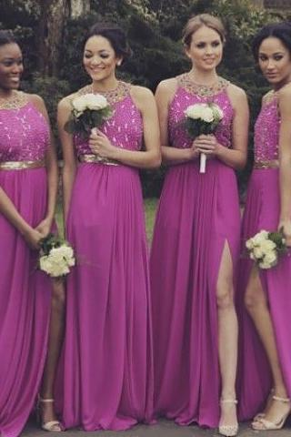 Fuchsia Bridesmaid Dress with Crystal Beaded Bodice, Open Back Bridesmaid Dress with Sexy Side Slit, Cheap A-line Dresses for Bridesmaids, #01012764