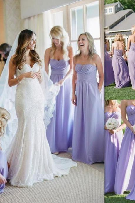 Simple Sweetheart Bridesmaid Dress with Ruching Detail, Chiffon A-line Bridesmaid Dress, Cheap Long Bridesmaid Dress, #01012770