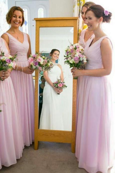 Sleeveless V-neck Bridesmaid Dress with Ruching Detail, Pink Chiffon Floor-length Bridesmaid Dress, Trendy A-line Gowns for Bridesmaids, #01012771