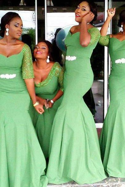 Off the shoulder Bridesmaid Dress with Beaded Belt, Clover Green Mermaid Bridesmaid Dress with 1/2 Sleeves, Trumpet Bridesmaid Dress, #01012779