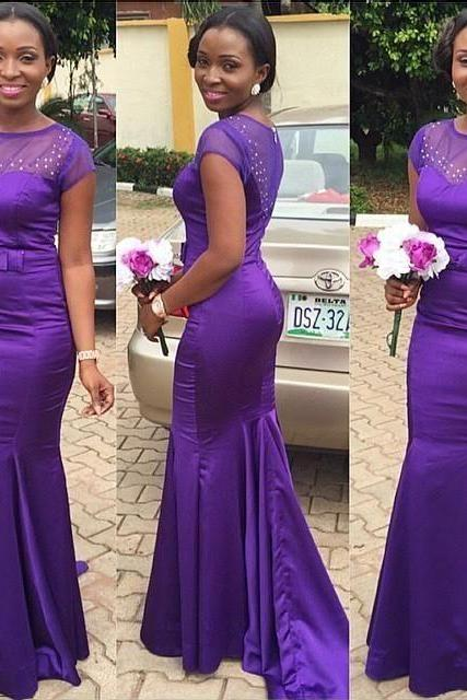 Purple Bridesmaid Dress with Sweep Train, Royal Cap Sleeve Mermaid Bridesmaid Dress, Beaded Bridesmaid Dress with Sweet Bow, #01012780