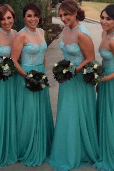Illusion Bridesmaid Dress with Lace Appliques, Chiffon Bridesmaid Dress with Sweep Train, Modest Mint Bridesmaid Dresses, #01012783