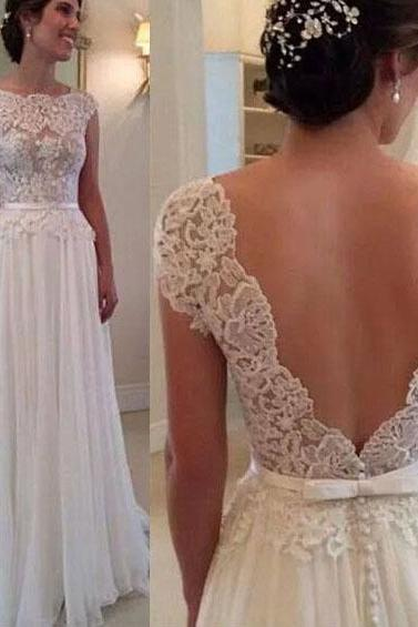 White Lace Prom Dress with Hot Low V-back, Floral Lace Long Prom Dress, Cap Sleeve Prom Dress with Slim Belt, #02016789