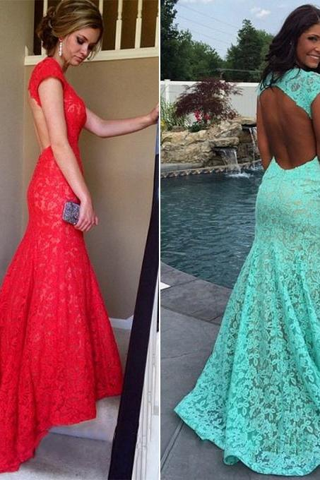 Hot Red Lace Prom Dress, Mermaid Open Back Prom Dresses, Latest Cap Sleeve Long Prom Gowns, #020102172