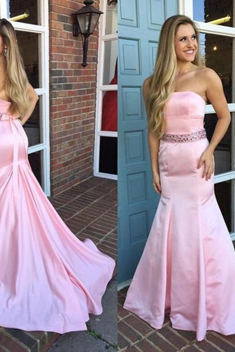 Pink Trumpet Prom Dress with Beaded Belt, Strapless Prom Dress with Low Back, New Style Evening Dress, #020102174