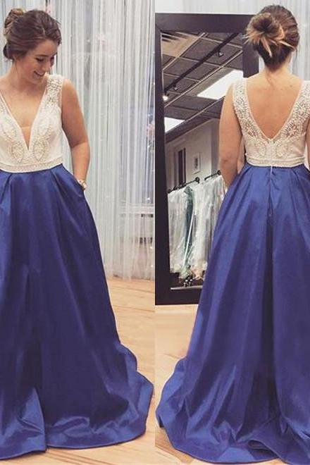 Graceful Pearl Beaded Prom Dress, V-neck Evening Dress with Sweep Train, Two pieces V-back Prom Dress, #020102206