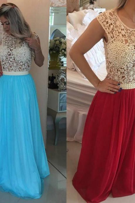 Long Prom Dress with Pearl Beaded Bodice, A-line Lace Prom Dress, New Scoop Neck Tulle Prom Dress, #020102229