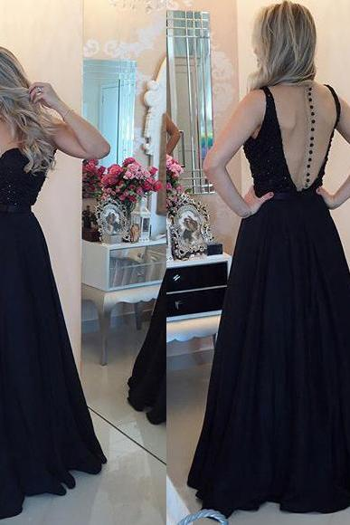 Sexy Black Beaded Prom Dress, Sweetheart Backless gowns for Prom, Elastic Woven Satin Floor-length Prom Dress, #020102329