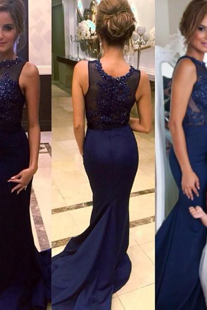 Sparkle Illusion Beaded Prom Dress with Sweep Train, Mermaid Prom Dress, Trumpet Silk-like Satin Evening Dress, #020102333