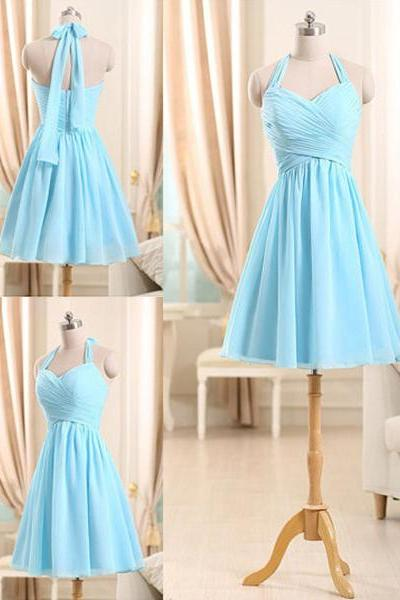 Halter Short Bridesmaid Dresses, Light Sky Blue Gowns for Bridesmaids, Fashionable Mini Chiffon Bridesmaid Dress, #01012510
