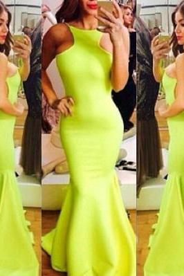 High Neck Prom Dress with gorgeous ruffle, Backless Mermaid Evening Dress, Long Prom Dresses with Sexy Low Back, #02016910